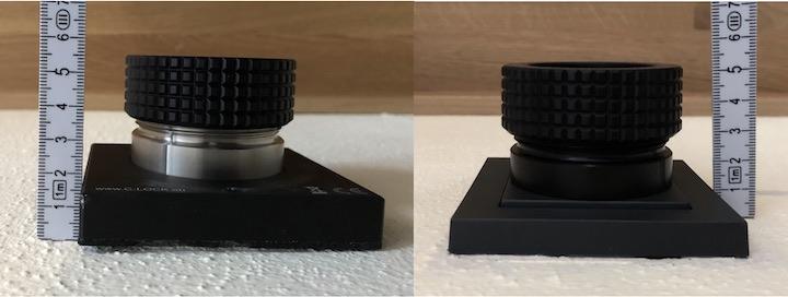 Unterschiedlich lang: Die C-Lock SE (links) Steckdose schaut 5,7 cm aus der Wand, die C-Lock Lite Steckdose ist mit 5,2 cm etwas flacher